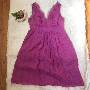Tibi lace neckline pleated purple dress